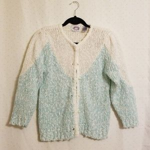 Vintage | Mint & White Knit Cardigan